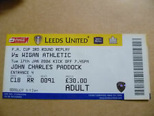 Ticket- LEEDS UNITED v WIGAN ATHLETIC,  FA Cup 3rd Round REPLAY, 7 January 2006.