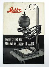 Vintage 1950 Leitz Instructions For Focomat Enlargers IC and IIA Manual