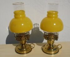"""Vintage~Pair~Petite~Lamps~Hurricane~Brass~Yellow~Bedside~Endtable 10"""" Ranch"""