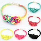 Wide Knit Rope Chinese Knot Weave Bib Collar Fluorescent Chunky Pendant Necklace
