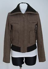 Les femmes ZARA basic veste en tweed bomber laine angora blend brown taille s small exc