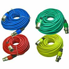 4 pack mixed colored 3 pin XLR mic microphone extension cables cords 50 ft foot