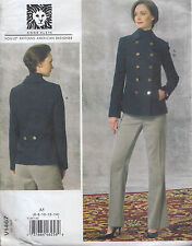 Vogue Designer D/B Peacoat & Pants Trouser Suit Size (6-14) Sewing Pattern