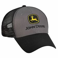 JOHN DEERE *BLACK & CHARCOL* CONSTRUCTION TRADEMARK *MESH* CAP HAT *BRAND NEW*