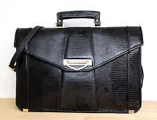 HAND CRAFTED ALL BLACK GENUINE LEATHER BUSINESS BRIEFCASE SHOULDER BAG MESSENGER