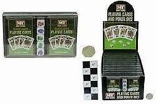 2 PACKS OF PLAYING CARDS WITH 5 POKER DICE IN BOX TRAVEL GAMES BEACH HOLIDAYS