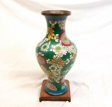"Vtg Chinese Cloisonne Vase Urn Enamel on Copper 9"" Flower Floral Wood Base Stand"