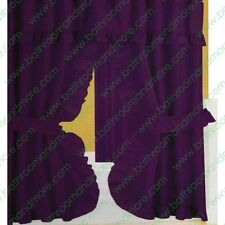 Double Swag Fabric Shower Curtain/12 Matching Hooks 2 Tie Backs/Hooks: Eggplant