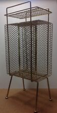 Vintage ATOMIC MID CENTURY Metal 3 Tier Wire Mesh Telephone Stand Magazine Rack
