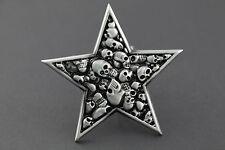 Crâne pentagramme argent métal boucle de ceinture