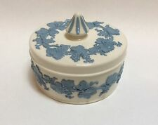 Wedgwood Embossed Queen's Ware Grape Lavender on Cream Round Candy Dresser Box