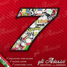 Adesivo Stickers NUMERO 7 moto auto cross gara STICKER BOMB