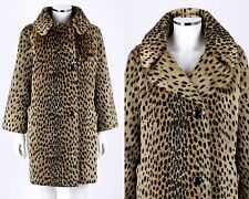 VTG 1950s 1960s CHEETAH LEOPARD ANIMAL PRINT FAUX FUR SWING COAT SZ L