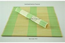 4 Bamboo Placemats Handmade Table Mats, Light Green - Cream Defect P031