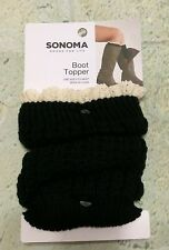 Boot Topper Black With Beige Lace Knit Sonoma NWT Size 9 - 11