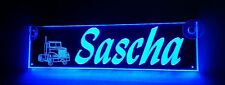 Trucker LKW Namensschild,LED beleuchtet,Sascha oder Wunschname,BLENDFREI,12V-24V