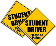 "Student Driver Sticker-Bright Yellow-Safety Decal School Teen Driver 5.5"" 2Pack"