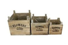 Set 3 Shabby Chic Rustic Flowers And Garden Square Wooden Wood Planters NEW