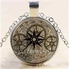 Steampunk Gold Gears Cabochon Glass Tibet Silver Chain Pendant Necklace