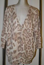 INC International Concepts Cardigan Sweater 3X Beige Leopard Print Light Weight