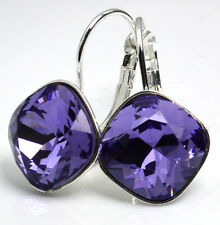 Silver Plated Earrings made with  Swarovski Crystals SHEENA*TANZANITE*12mm