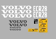 VOLVO ECR28 DIGGER COMPLETE DECAL STICKER SET WITH SAFETY WARNING DECALS