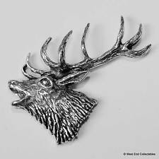 Roaring Stag Head Pewter Pin Brooch -British Hand Crafted- Antler Deer Hunting