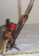 Vtg Hand-Carved WOOD PIPE 2-Heads w/3 Leg Stand - CAPRI - Folk Art - Decorative