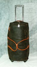"""BRIC'S MYLIFE 28"""" ROLLING DUFFLE OLIVE TABACO PVC TRAVEL LUGGAGE #135 Leather TR"""
