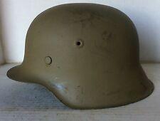 German WW2 M42 Helmet shell With Liner Band & Rivets (Original)