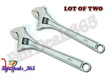 """HEAVY DUTY LOT OF 2 PCS ADJUSTABLE WRENCH SPANNERS CHROME FINISH 4"""" 100MM"""