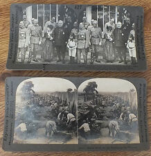 2 Keystone WWI STEREOVIEW CARDS Military World War One - Foch, Pershing More
