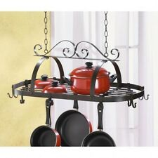 KITCHEN Pan Pot HOLDER Hanging Rack w 12 Two-Sided Hooks
