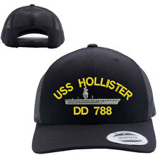 USS HOLLISTER DD 788 SHIP MESH TRUCKER SNAP CLOSURE CAP HAT BLACK RETRO