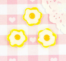 6 x Cute Fried Eggs Flat Back Embellishments Cabochons Decoden Kawaii Decoden