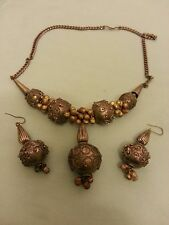 ANTIQUE YEMEN SILVER BEADED TRIBAL BEDOUIN NECKLACE WITH RARE MATCHING EARRINGS