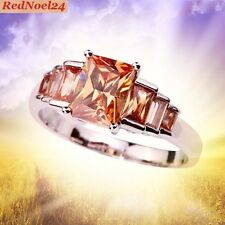 Queenly Petite 7 Stone Band Morganite 925 Silver Stamped Ring Size 9.5 - S