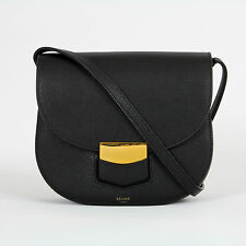 $2250 authentic NEW Celine Trotteur Black Grained Leather Crossbody Handbag NWT