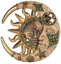 8 Inch Tan Mosaic Crescent Moon and Sun Wall Plaque Decoration Statue Figure