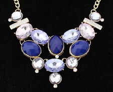 $35 INC International Concepts - Blue Oval Beads Crystal Cluster Choker Necklace