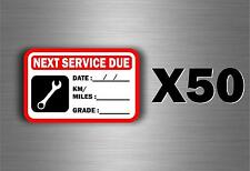 50 x sticker next service car van truck oil garage reminder change reminder