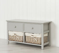 Grey Wooden Storage Unit Bench with Two Natural Wicker Drawers Baskets
