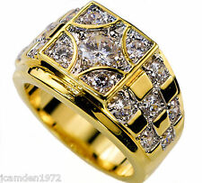 Mens Championship style ring 17 cz 18K yellow gold overlay size 14
