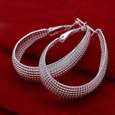 Women Fashion 925 Sterling Silver Plated Hoop Mesh Dangle Earring Studs Jewelry