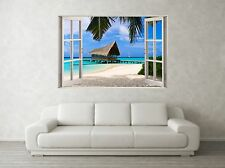 Beach Hut Scene 3D Full Colour Window Home Wall Art Stickers Mural Decal