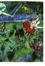 "ADORNING MARC CHAGALL HAND SIGNED ""ADAM AND EVE "" COLOR OFFSET LITHOGRAPH W/COA"