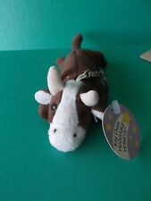 "HUGGABLE HONEYS ""BULL""  KEY CHAIN RING 1990'S PLUSH"