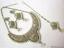 STATEMENT GLAM BOLLYWOOD INDIAN WEDDING NECKLACE EARRING TIKKA SET SILVER