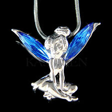 Royal Blue w Swarovski Crystal Tinkerbell Tinker Bell ANGEL Wings Charm Necklace