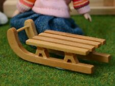 Small Wood Sleigh, Doll House Christmas Miniature Accessory, Xmas Sleigh